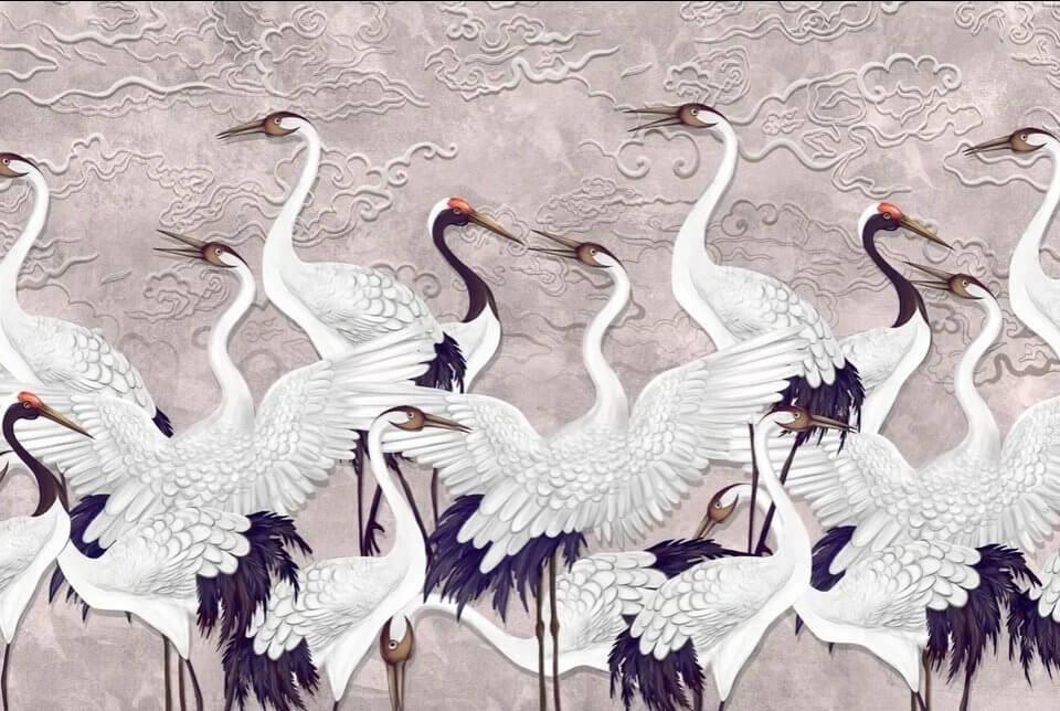 фотообои с карсивыми птицами