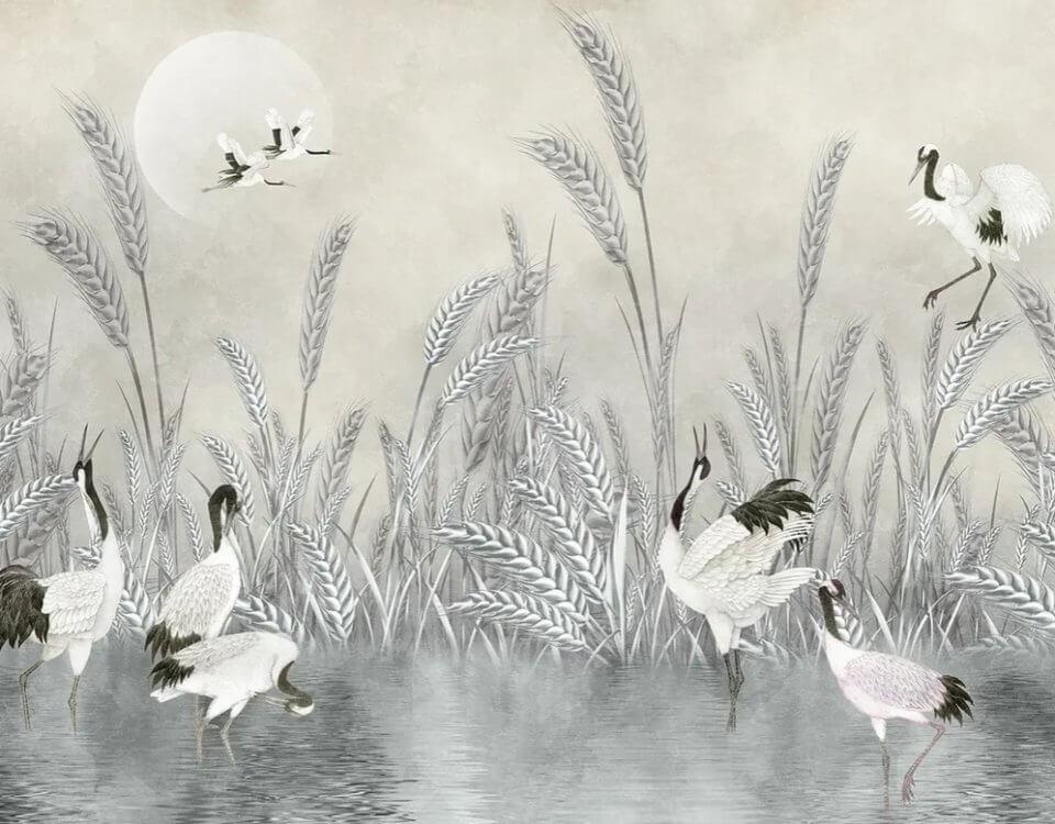 фотообои с птицами на светлом фоне