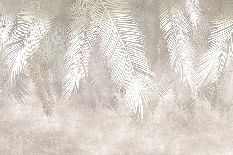 фотообои светлые перья ветви свисающие печать