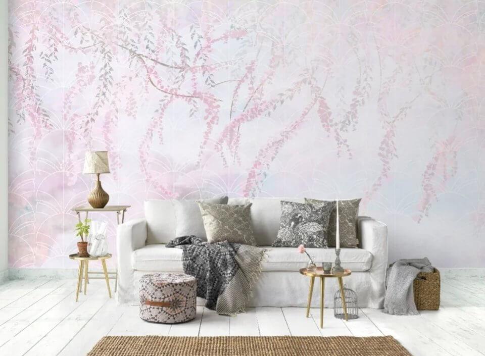 фотообои длинные ветви свисающие на стену