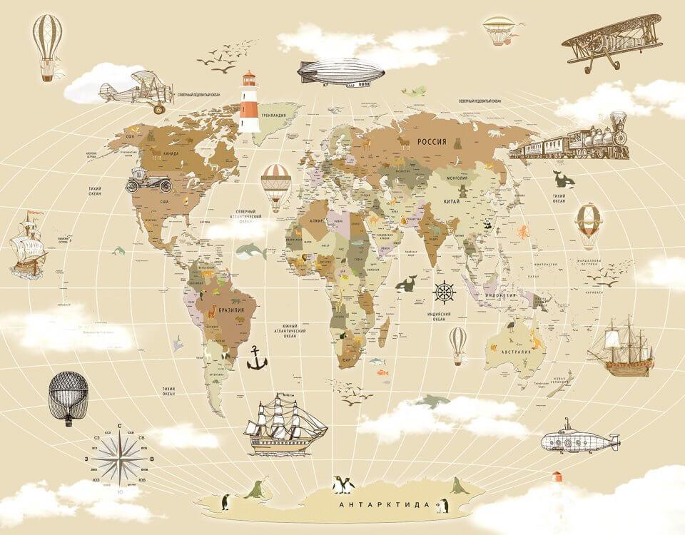 фотообои детская карта мира на светлом фоне