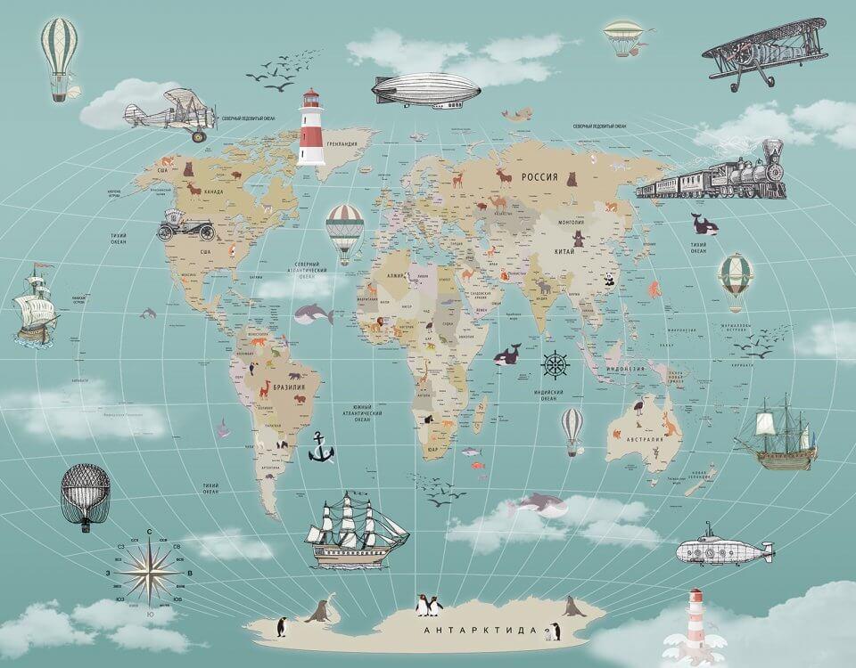 фотообои карта мира на стену казань
