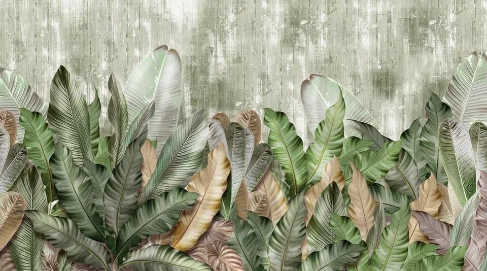 фотообои крупные листья на стену зеленые