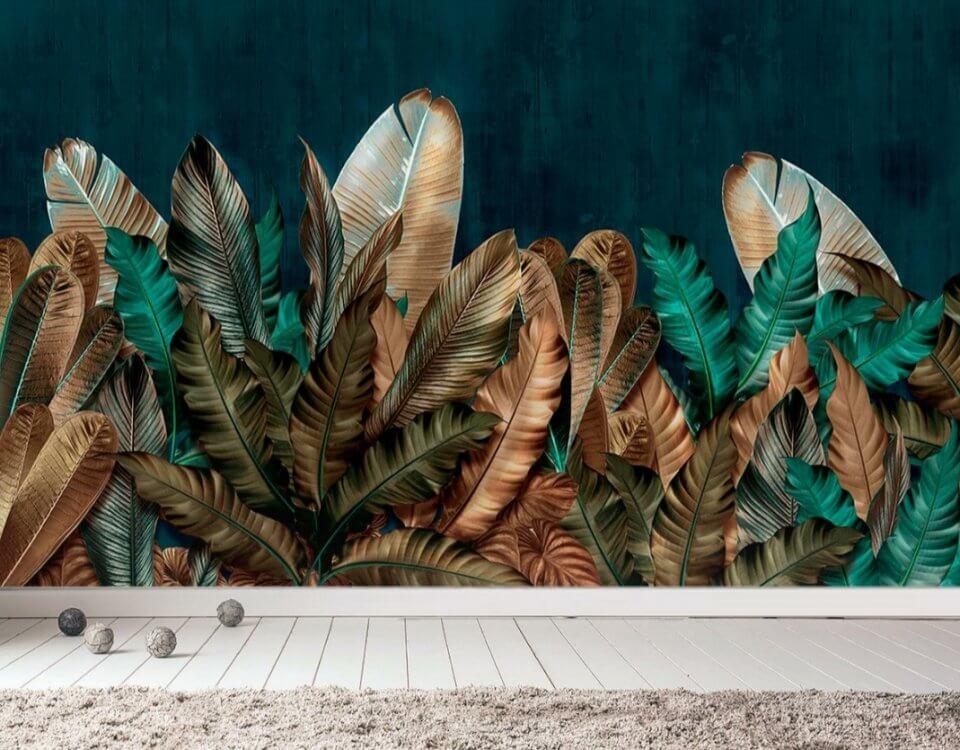 фотообои на темном фоне листья на стену