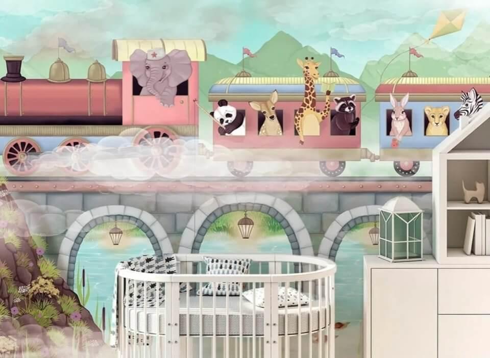 детские фотообои на стену с поездом