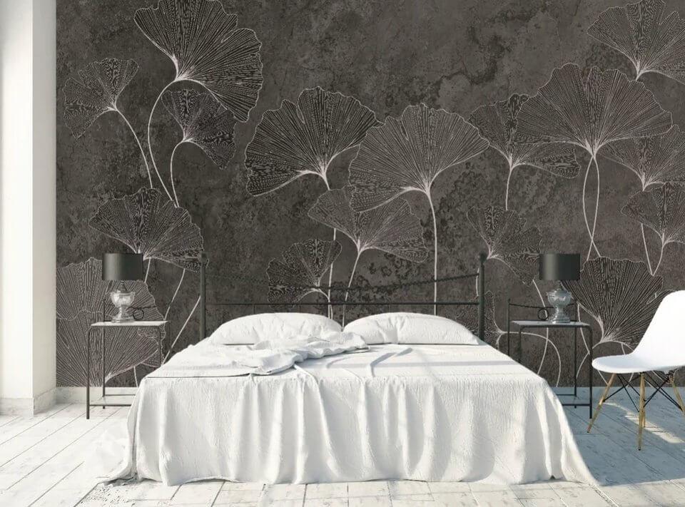 фотообои листья на темном фоне стена