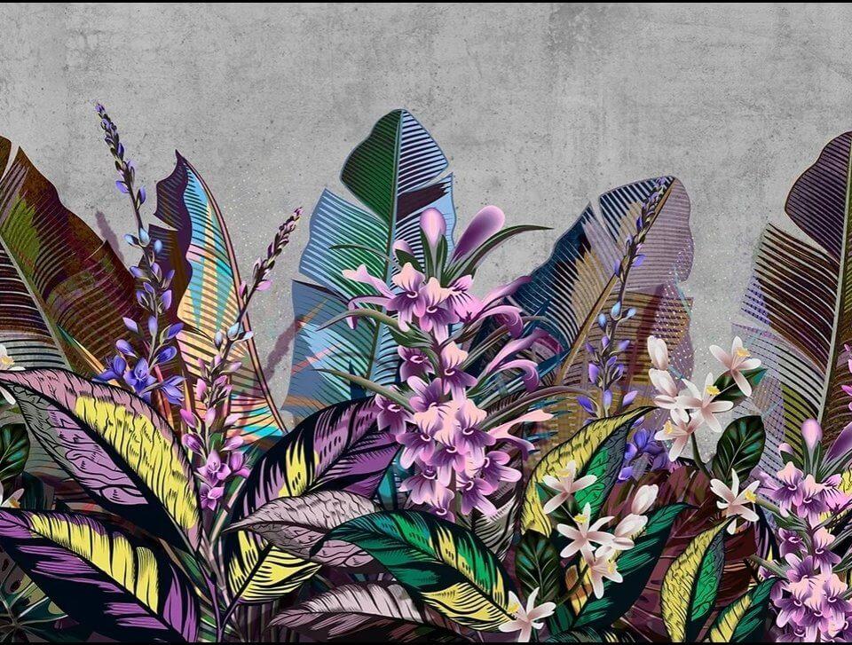 фотообои крупные листья с цветами на стену