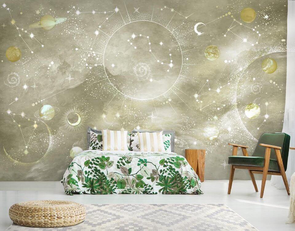фотообои космические на стену в интерьере