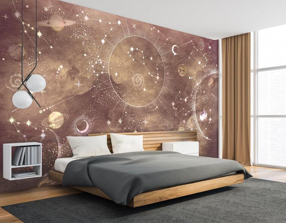фотообои для спальни в интерьере