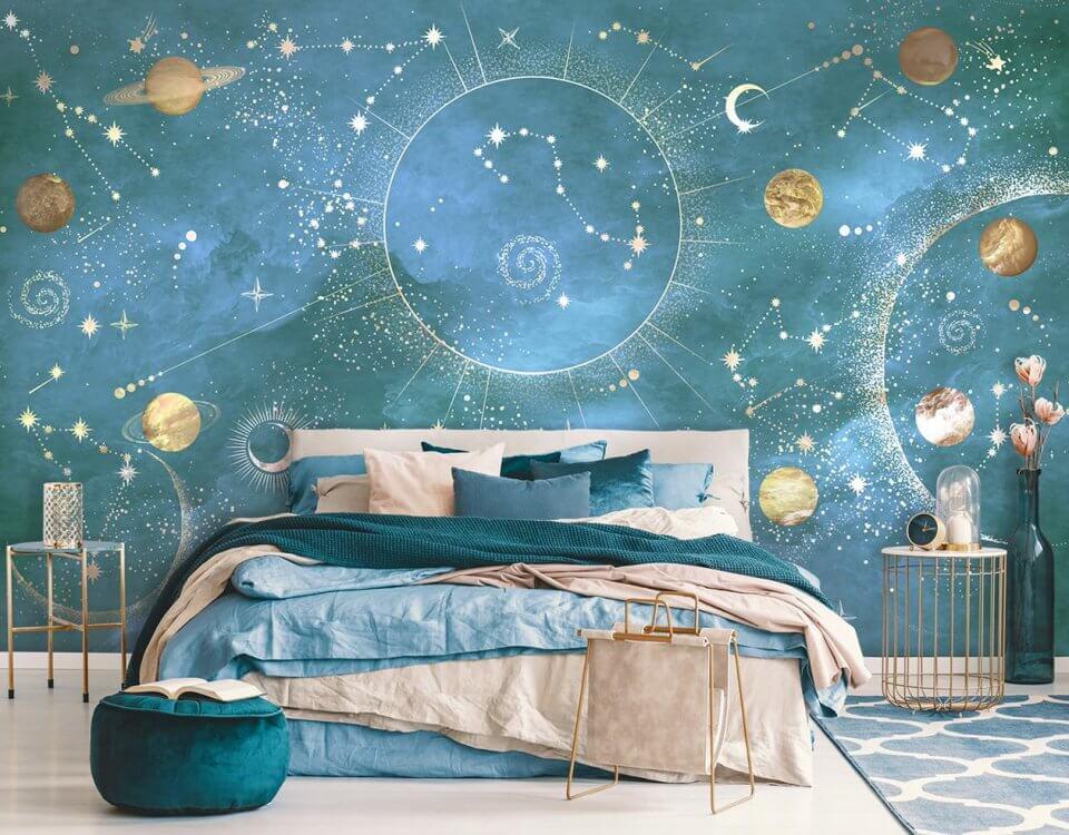 фотообои космос планеты на стену голубой фон