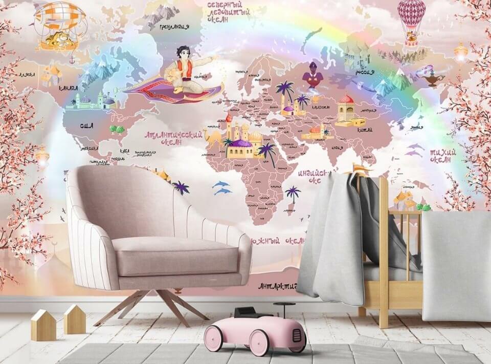 детская карта мира на стену купить