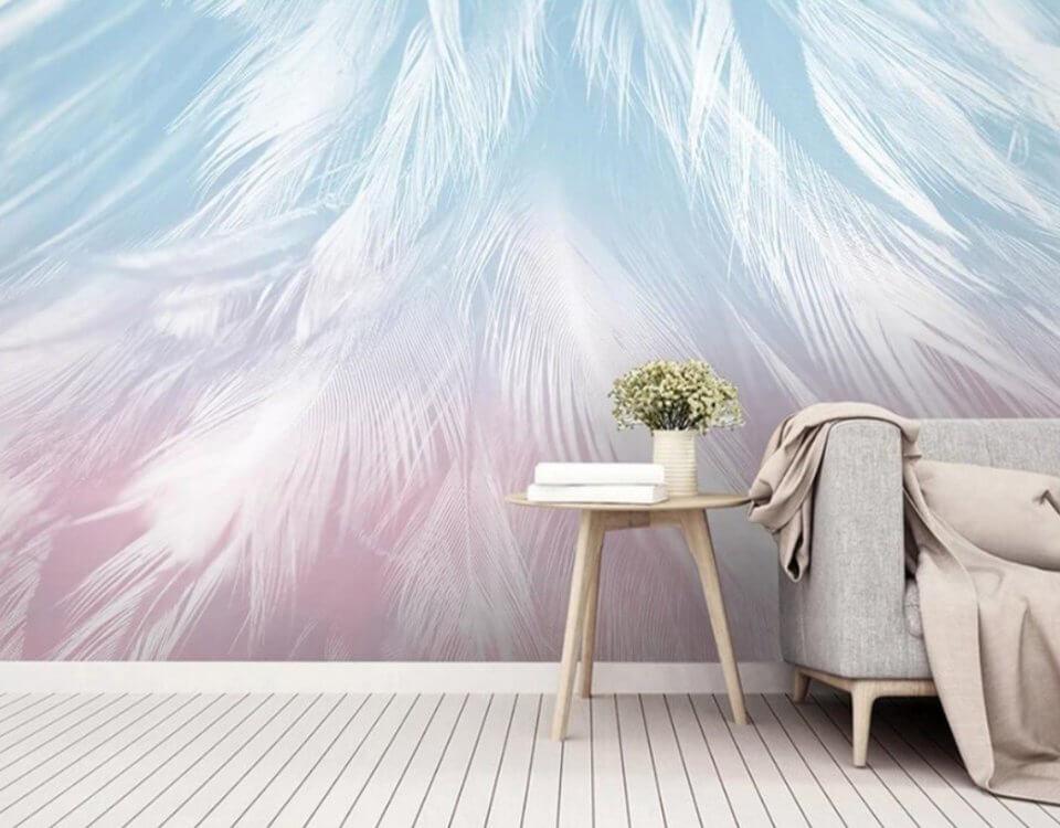 фотообои перья на стену светлые