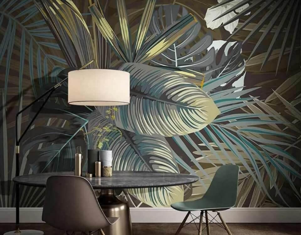 интерьерный принт с пальмовыми листьями фон стен