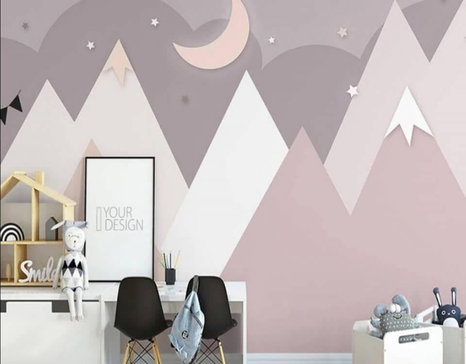 фотообои розовые горы для детской комнаты