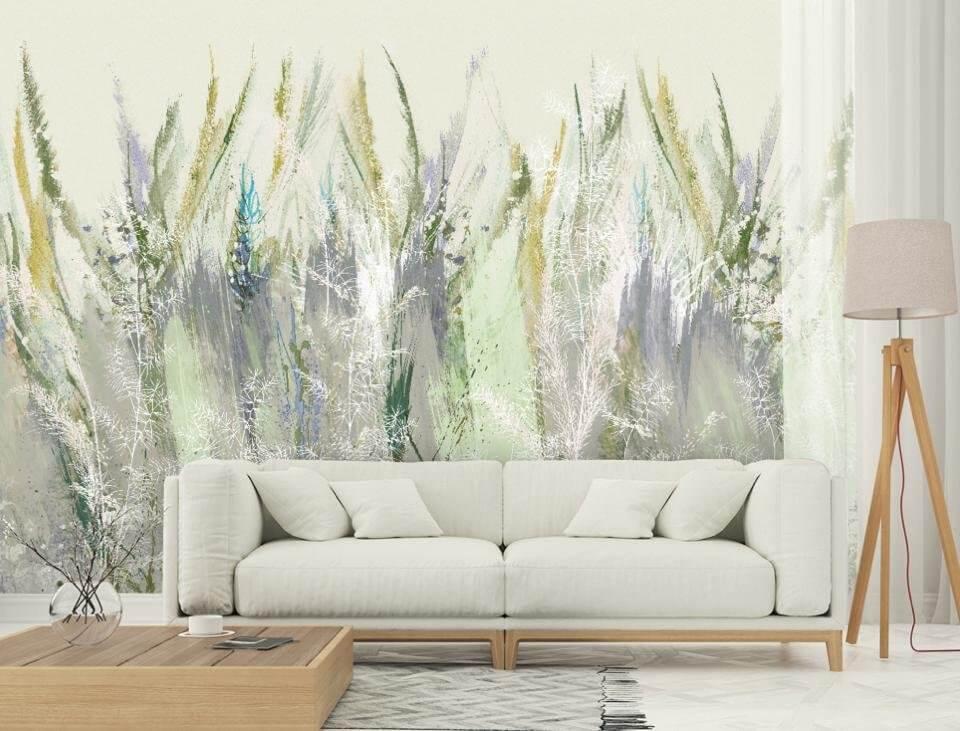 фотообои акварельные растения на стену