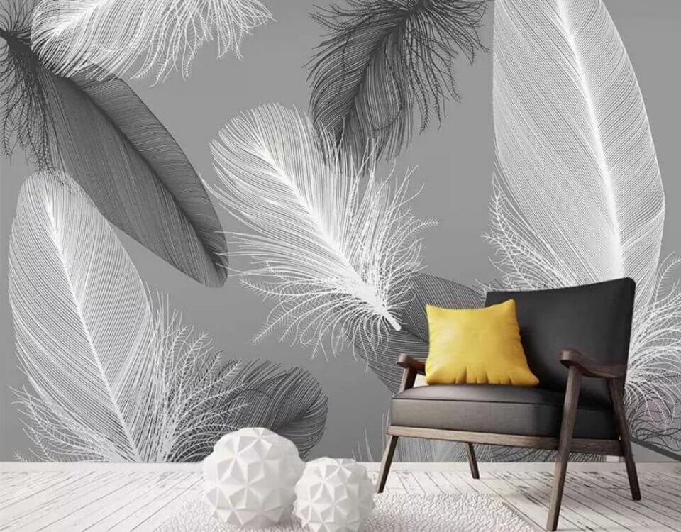 фотообои монохромные перья на стену