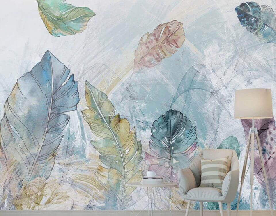 фотообои перья на стену разноцветные