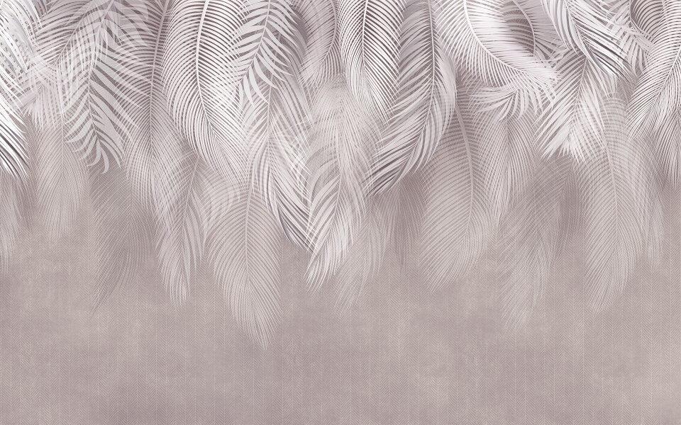 фотообои нежные свисающие белые перья на стену