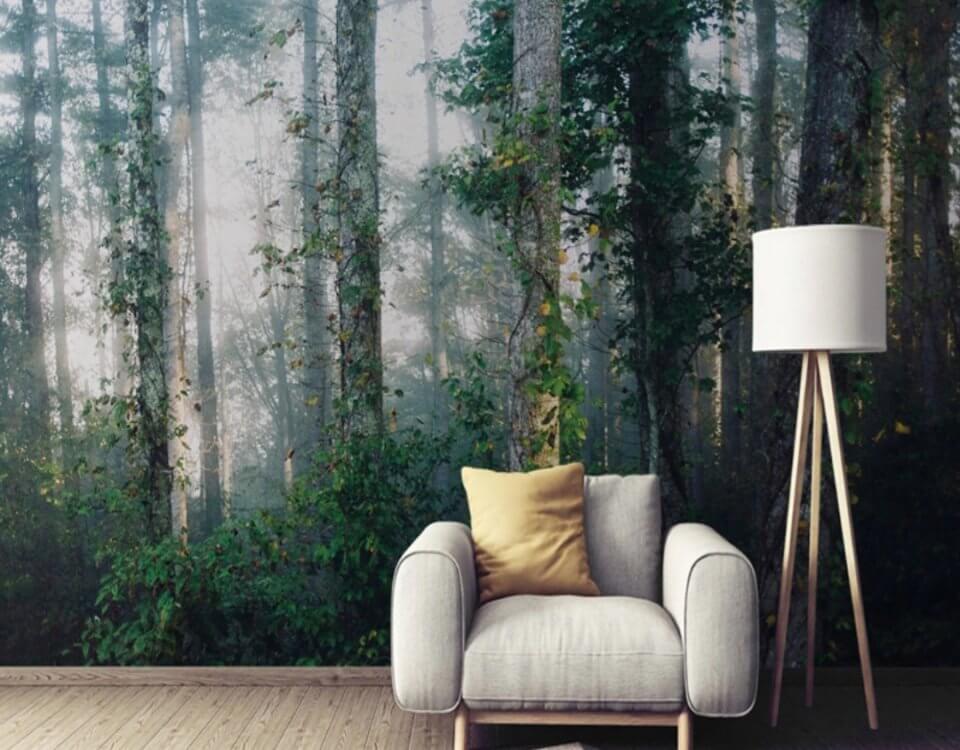 фотообои зеленый лес как присутствие