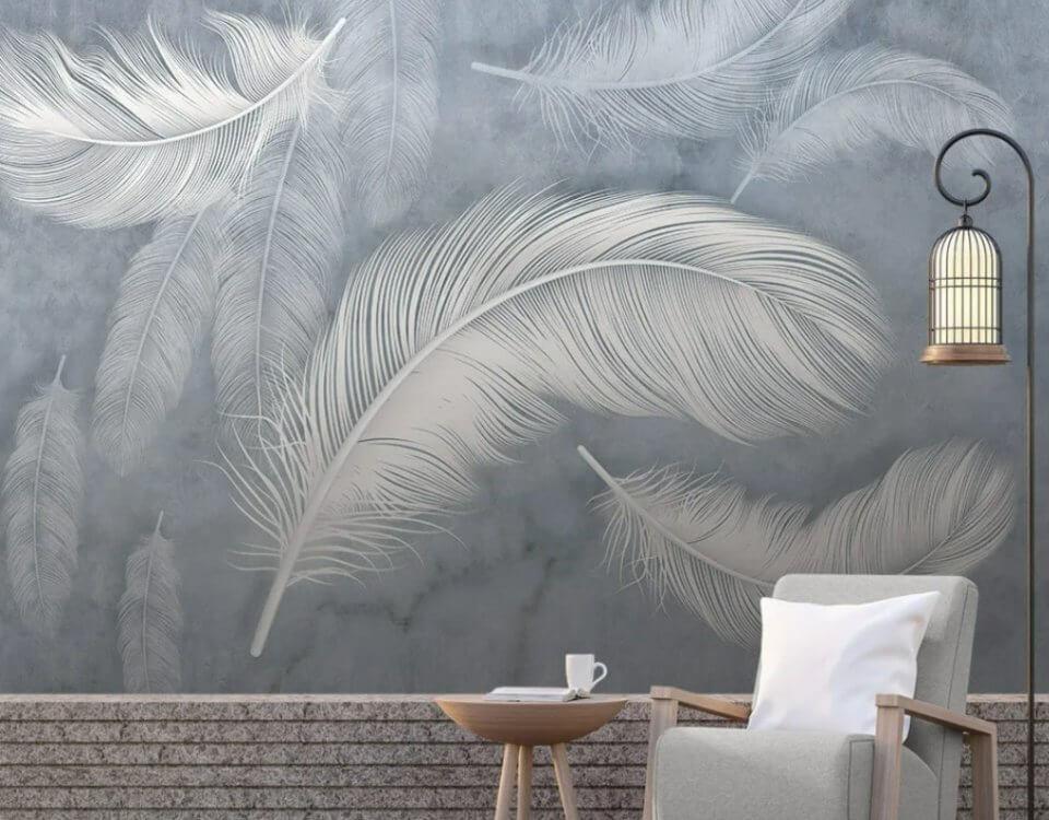 фотообои светлые перья на сером фоне