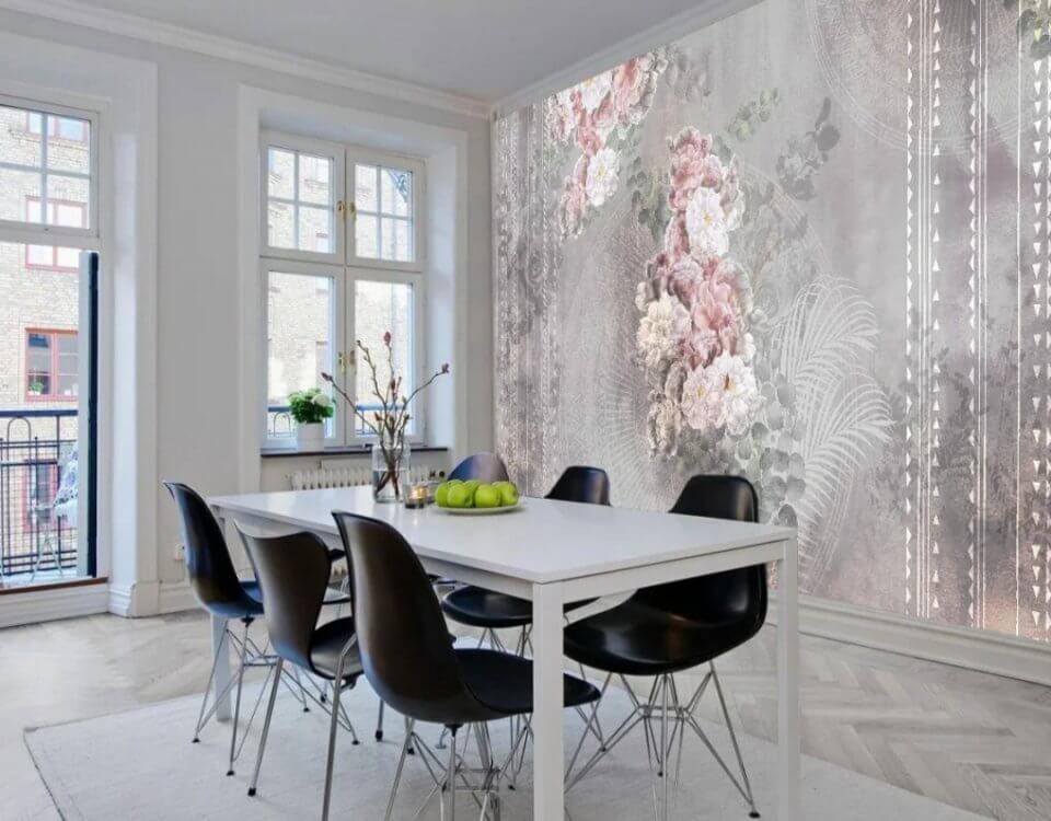 фотообои цветы на стену кухни