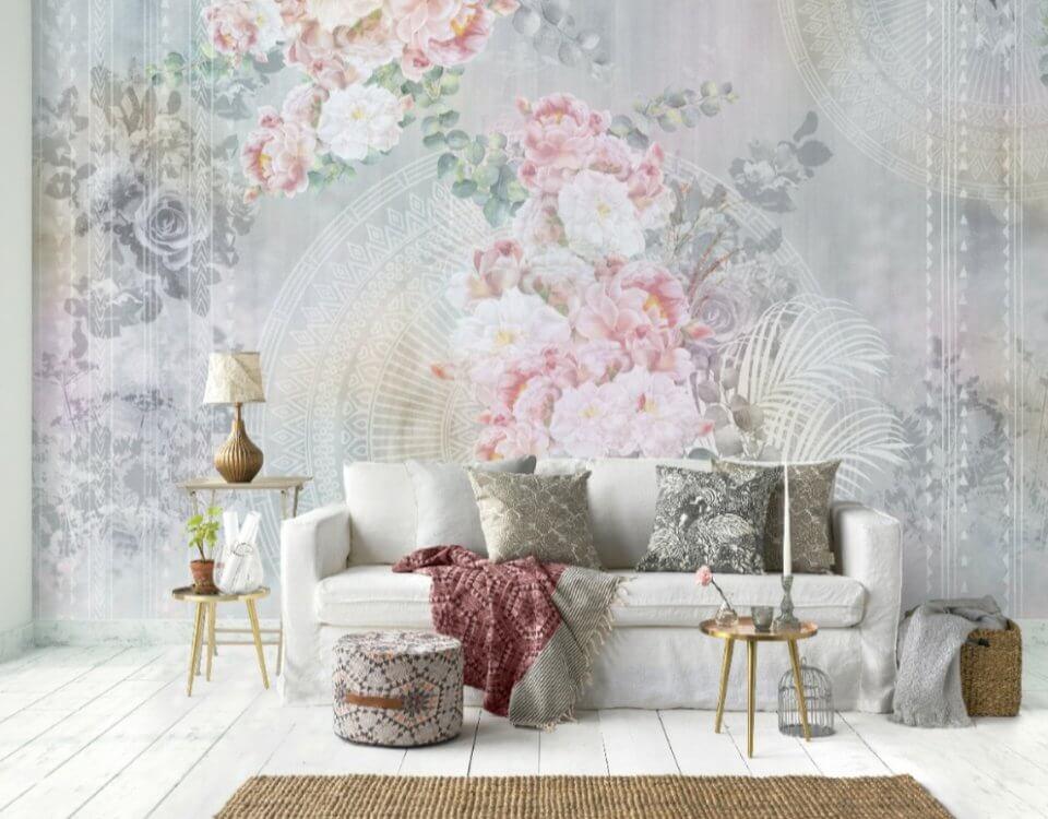 фотообои цветы в стиле лофт на сером фоне