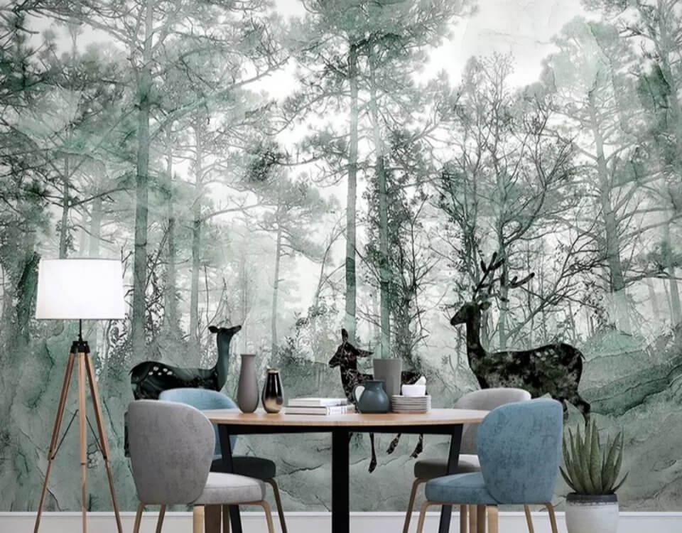 фотообои зеленый лес и олени
