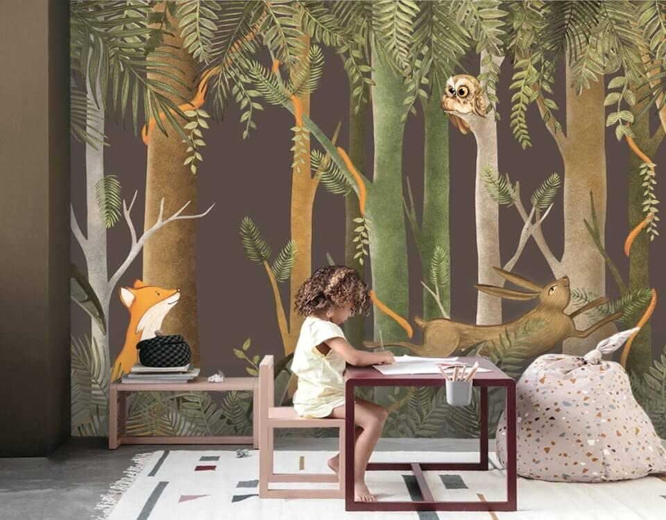 фотообои лес с животными