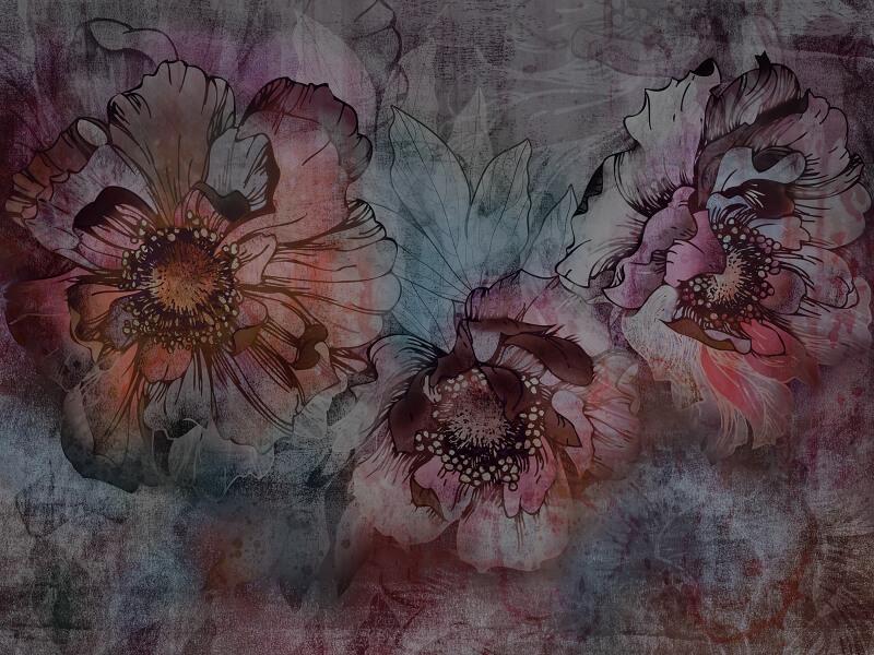 фрески крупные цветы