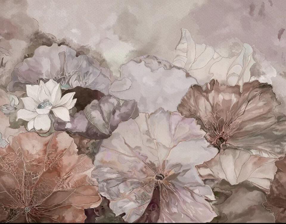 фреска лотосы