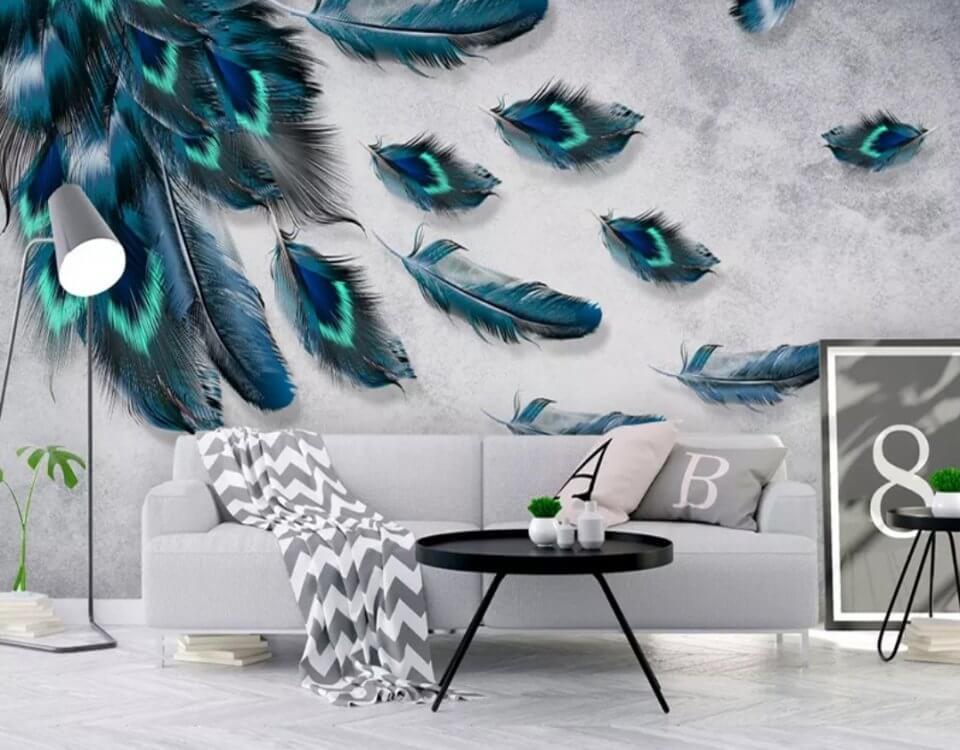 фотообои яркие перья на стену