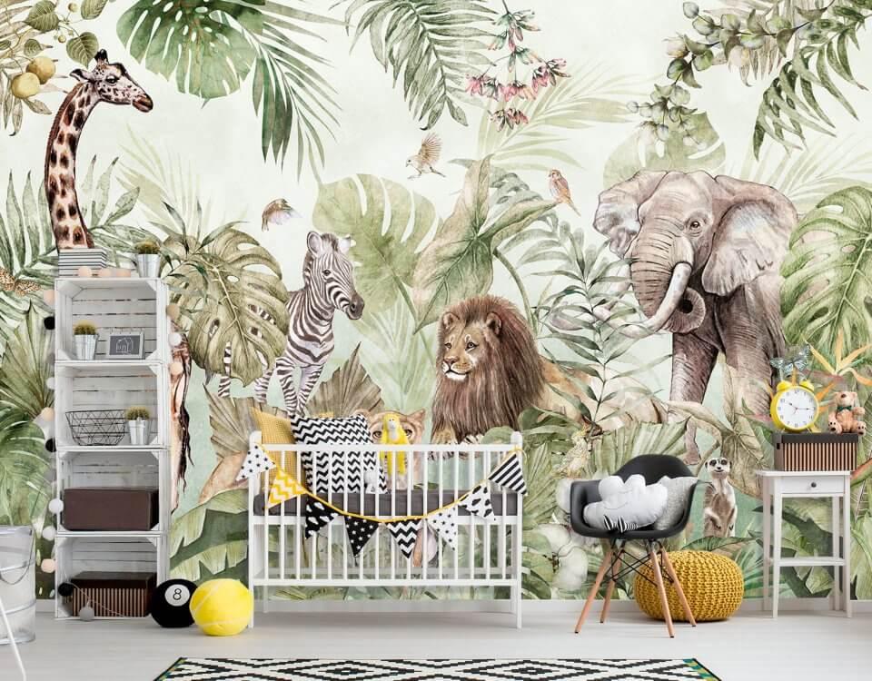детские обои на стену с животными