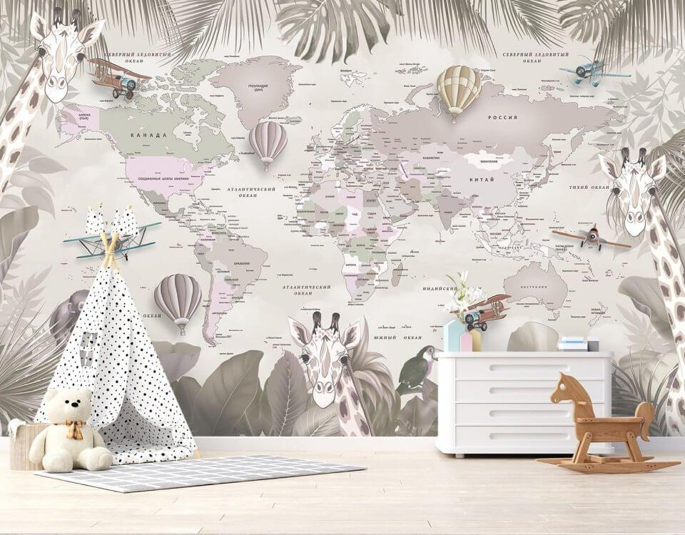фотообои картами мира флизелин
