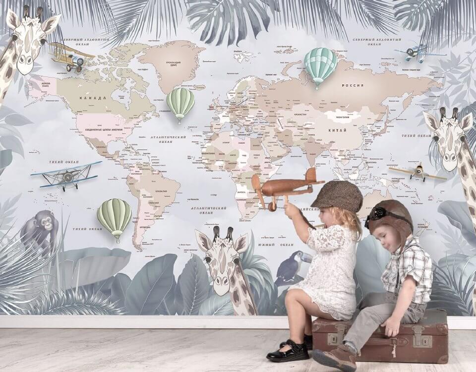 фотообои детские карты