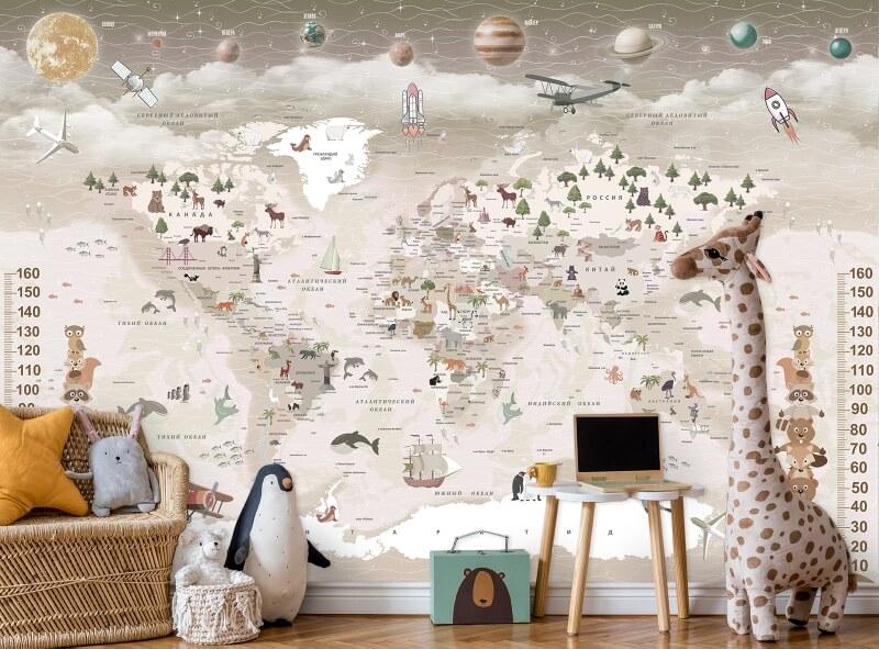 фотообои карта мира в детскую