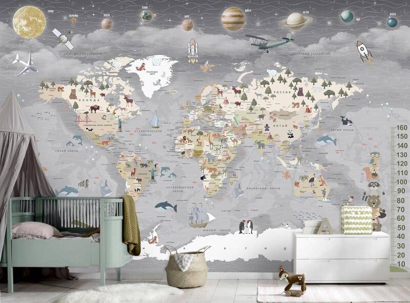 фотообои карта мира на стену для детской