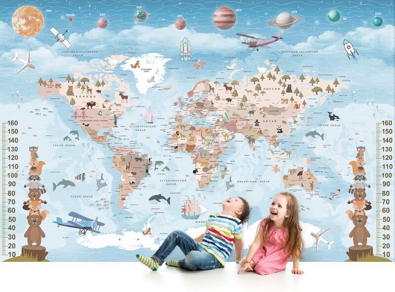 фотообои в виде карты мира