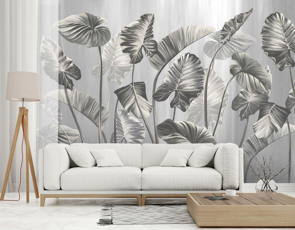 фотообои пальмовые листья серые