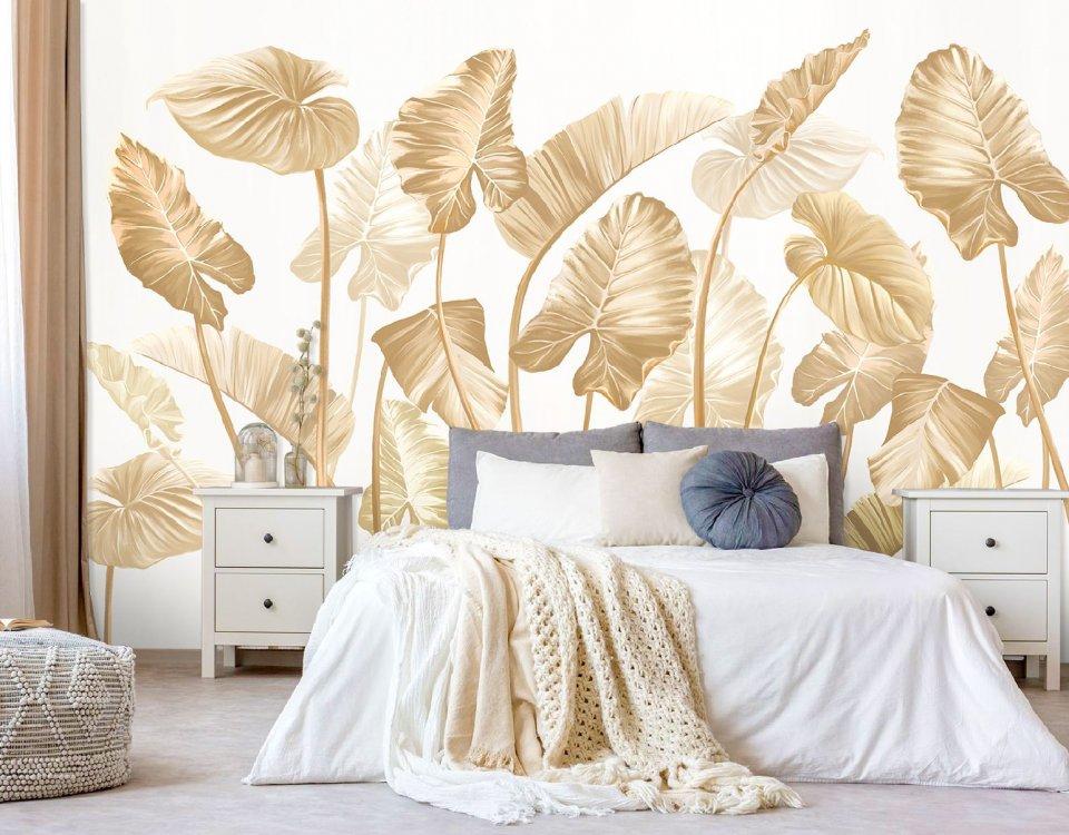 фотообои флизелиновые premium пальмовые листья бежевые